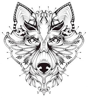 Ilustración abstracta del tatuaje de la cabeza de perro