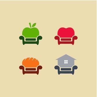 Ilustración abstracta variación de diseño de interiores sofá silla con símbolo de appleheartbakeryhouse