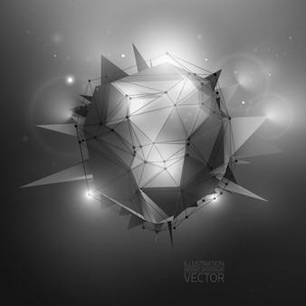 Ilustración abstracta de vectores de ciencia ficción poligonal