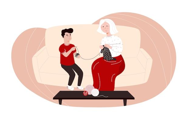 Ilustración con una abuela tejiendo y su nieto pasar tiempo juntos