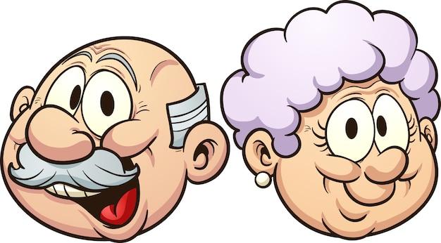 Ilustración de abuelos de dibujos animados