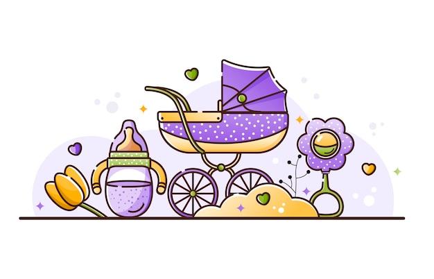 Ilustración con accesorios para bebés