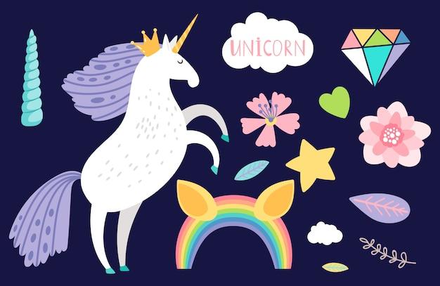 Ilustración de accesorios de colección y unicornio de dibujos animados