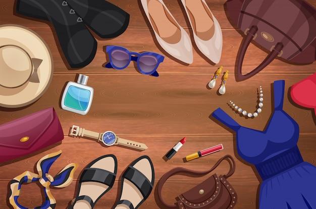 Ilustración de accesorios de mujer