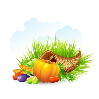 Ilustración de acción de gracias con cesta de mimbre y verduras.