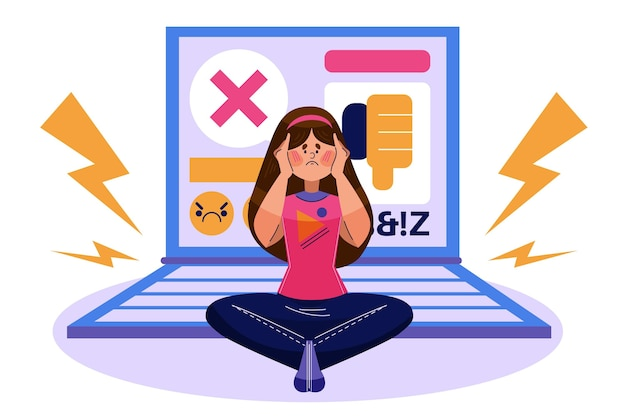 Ilustración de acoso cibernético