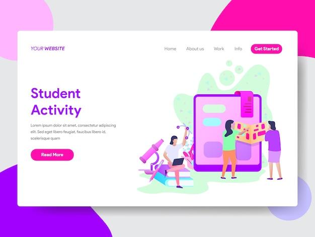 Ilustración de actividad estudiantil para páginas web