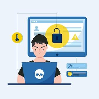 Ilustración de actividad de hacker de diseño plano