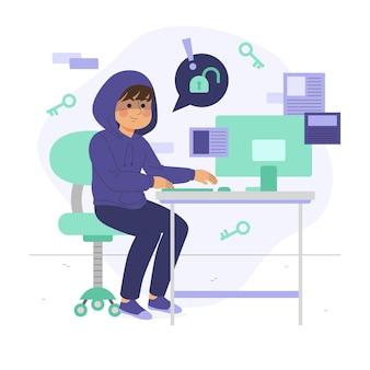 Ilustración de actividad hacker