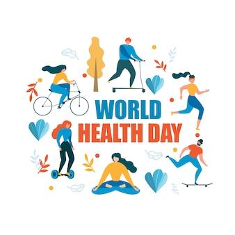 Ilustración de la actividad saludable del día mundial de la salud