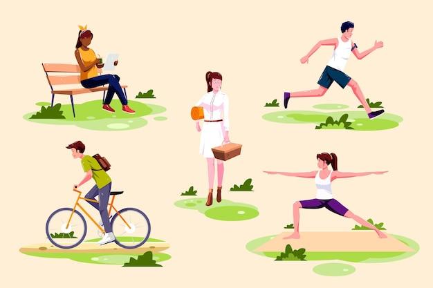 Ilustración de actividades al aire libre