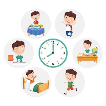 Ilustración de actividades diarias de rutina para niños