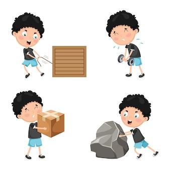 Ilustración de las actividades físicas de los niños