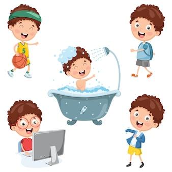 Ilustración de las actividades rutinarias diarias de los niños
