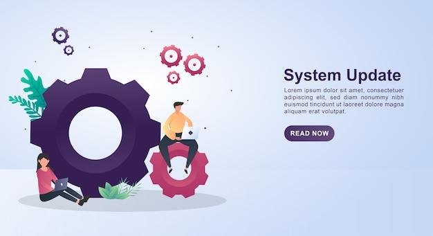 Ilustración de actualización del sistema con gran equipo.