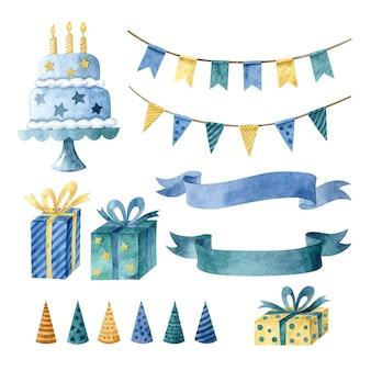 Ilustración acuarela con adornos de cumpleaños aislado sobre fondo blanco.