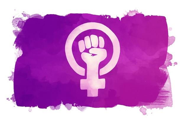 Ilustración acuarela bandera feminista con puño y símbolo femenino