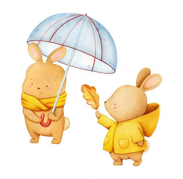 Ilustración acuarela de una bonita liebre en bufanda amarilla sosteniendo un paraguas y liebre chica en un abrigo con una hoja de otoño