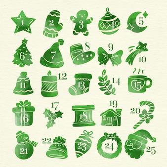 Ilustración acuarela del calendario de adviento
