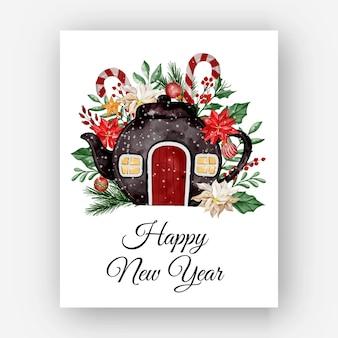 Ilustración de acuarela de casa de tetera de navidad