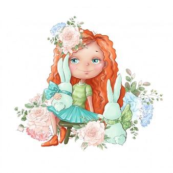 Ilustración acuarela chica linda de la historieta con delicadas flores rosas