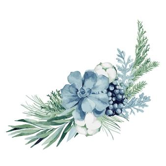 Ilustración acuarela, composición navideña con abeto, pino, ramas de eucalipto, bayas, algodón, pan de jengibre navideño y suculentas