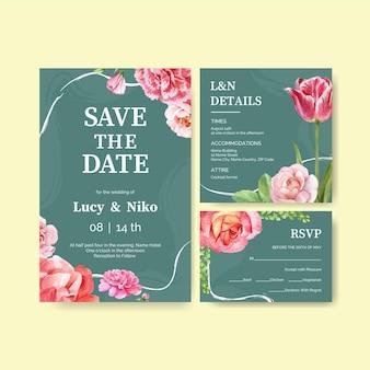 Ilustración de acuarela de concepto de plantilla de tarjeta de boda