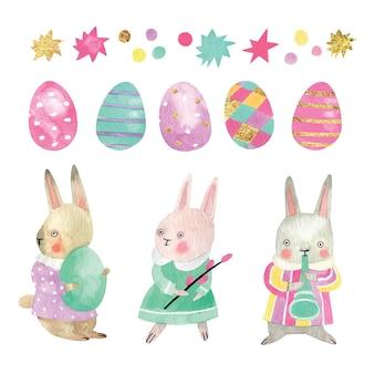 Ilustración acuarela de conejitos de pascua con huevos de colores, estrellas y oropel. conjunto de elementos de pascua y personajes dibujados a mano.
