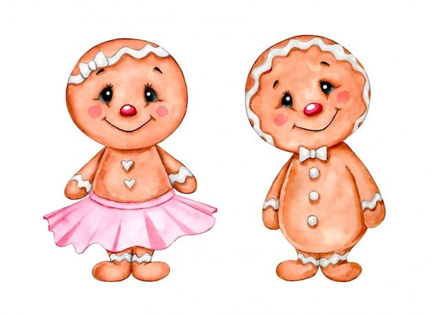 Ilustración acuarela de un conjunto de pan de jengibre de navidad de dibujos animados lindo. pan de jengibre niño y niña.