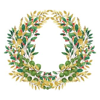 Ilustración acuarela corona de navidad