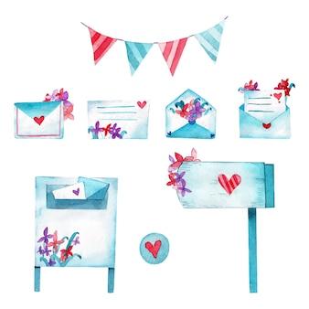Ilustración de acuarela de correos de amor