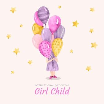 Ilustración acuarela del día internacional de la niña con globos