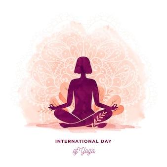 Ilustración acuarela del día internacional del yoga