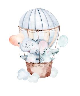 Ilustración de acuarela dibujada a mano de dibujos animados lindo bebé eephant animal con globo de aire