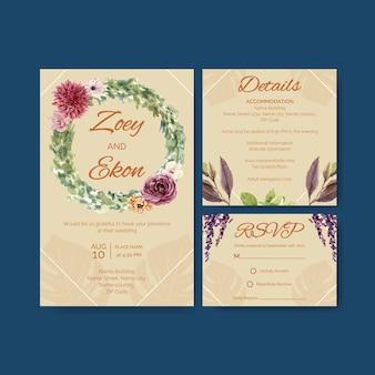Ilustración de acuarela de diseño de plantilla de tarjeta de ceremonia de boda