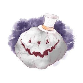 Ilustración acuarela de espantapájaros de calabaza de personaje lindo para halloween