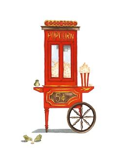 Ilustración acuarela de estilo antiguo de carro de palomitas de maíz rojo