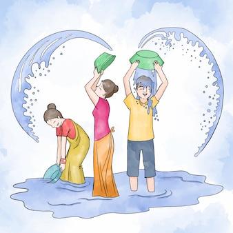 Ilustración acuarela del evento songkran