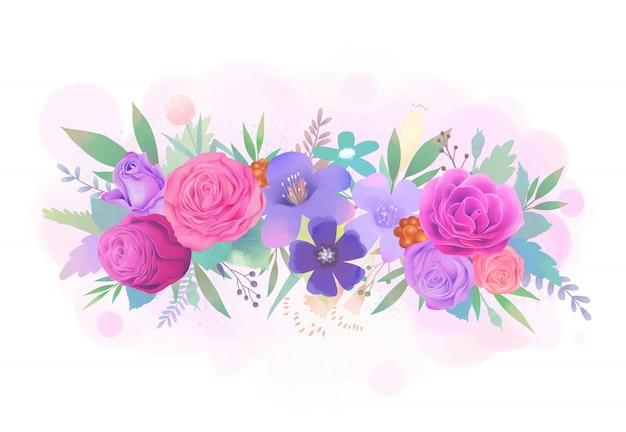 Ilustración acuarela de flor rosa rosa y púrpura