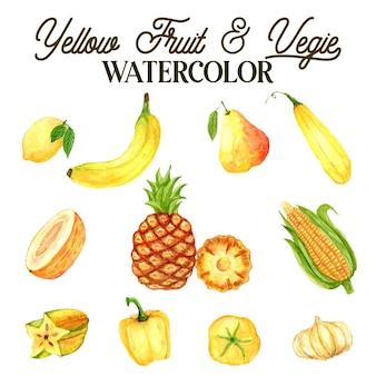 Ilustración acuarela de frutas y verduras amarillas