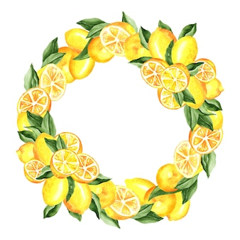 Ilustración acuarela de guirnalda de limones y hojas