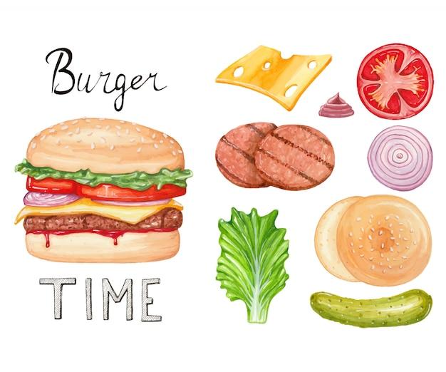 Ilustración acuarela con hamburguesa e ingredientes. arte dibujado a mano