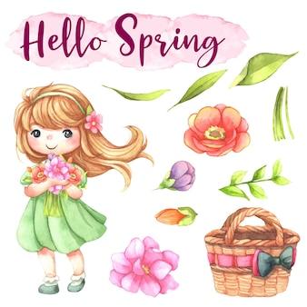 Ilustración acuarela linda chica, muñeca, princesita, elemento floral, canasta de regalo