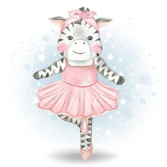 Ilustración acuarela linda pequeña bailarina cebra