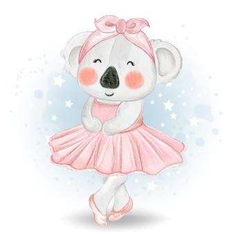 Ilustración acuarela linda pequeña bailarina koala