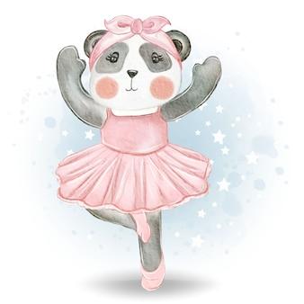 Ilustración acuarela linda pequeña bailarina panda