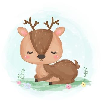 Ilustración de acuarela lindo bebé ciervo