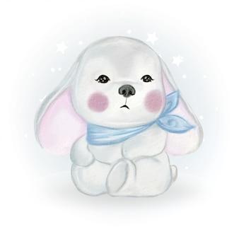 Ilustración acuarela lindo bebé conejito