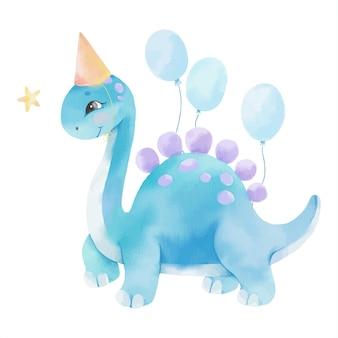 Ilustración acuarela con lindo dinosaurio y globos