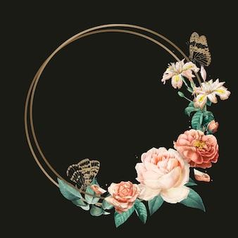 Ilustración de acuarela de marco de borde romántico botánico